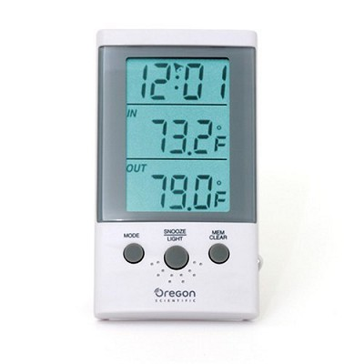 THT312 Indoor/Outdoor Thermometer Clock with Wired Probe