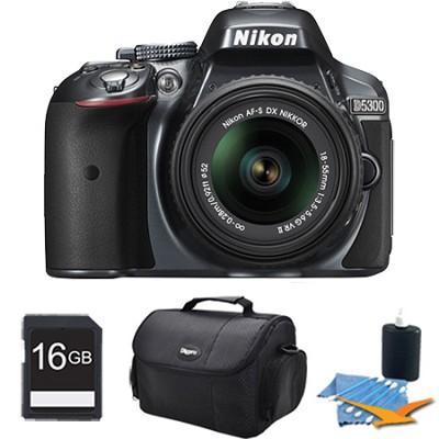 D5300 DX-Format Digital SLR Kit (Grey) w/ 18-55mm DX VR II Lens 16GB Bundle