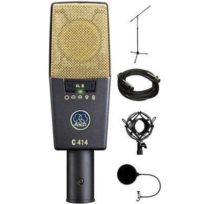 Pro Audio C414 XLII Vocal Condenser Microphone Multipattern w/ Mount Bundle