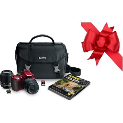 D5200 24.1MP DSLR w/ 18-55 & 55-200mm Lenses + WU-1a WiFi Adapter Bundle (Red)