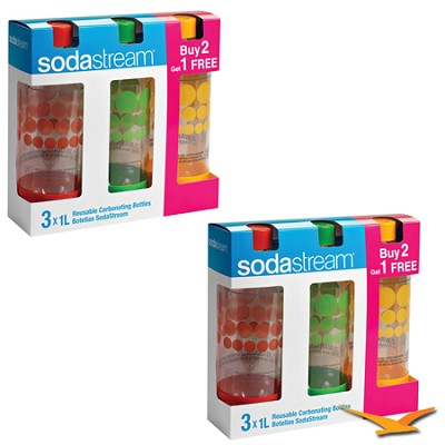 6 Pack of 1Liter BPA-free Carbonating Bottles in Red, Green, Orange Bundle