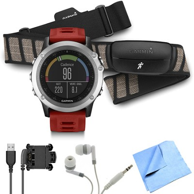 fenix 3 Multisport Training GPS Watch with Heart Rate Monitor Silver Bundle