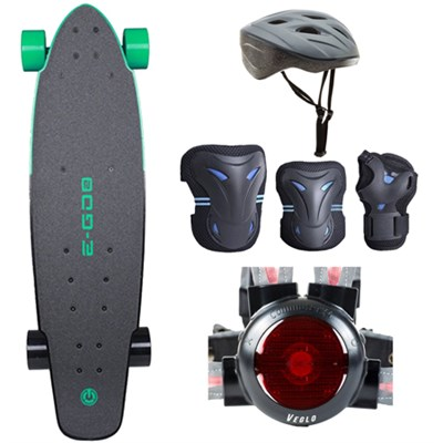 E-GO 2 Electric Skateboard - Deep Mint Green with Safe Skater Bundle