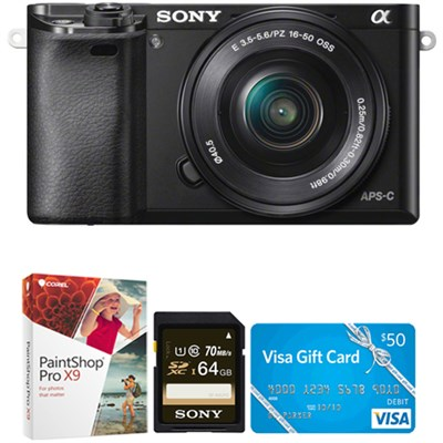 Alpha a6000 24.3MP Interchangeable Lens Camera with 16-50mm Power Zoom Lens Kit
