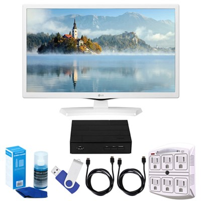 24` HD LED TV - White (2017 Model) + Terk HD TV Tuner 16GB Hook-Up Bundle
