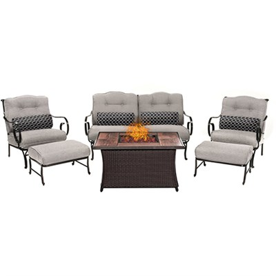 Oceana 6pc Fire Pit Set with Wood Grain Tile Top
