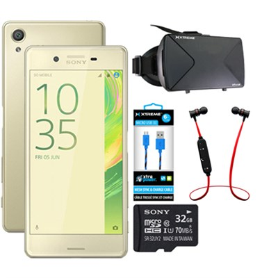 Xperia X 32GB 5` Smartphone Unlocked VR Accessory Bundle - Lime Gold