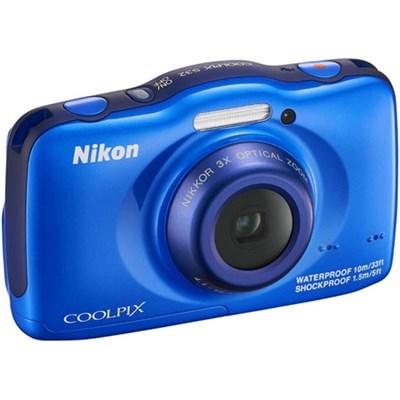 COOLPIX S32 13.2MP Waterproof Digital Camera (Blue)(Certified Refurbished)