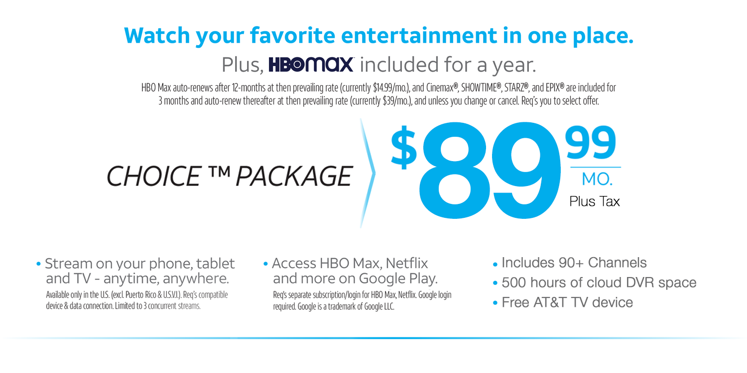 AT&T TV Entertainment Package